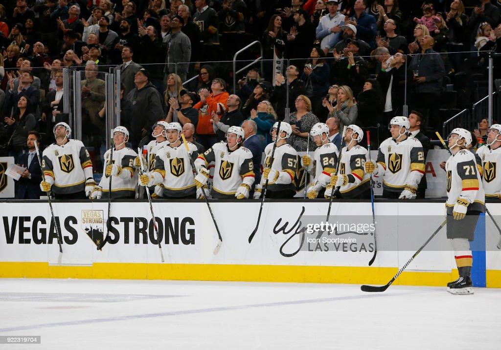 Vegas Golden Knights players stand up during the first period of a regular season NHL game between the Anaheim Ducks and the Vegas Golden Knights at T-Mobile Arena Monday, Feb. 19, 2018, in Las Vegas, Nevada. The Anaheim Ducks would defeat the Vegas Golden Knights 2-0.