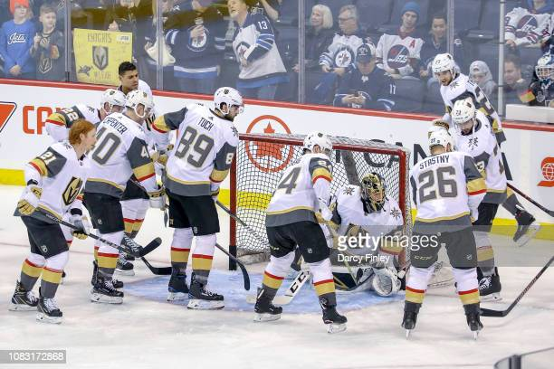 Vegas Golden Knights players take part in the pregame warm up prior to NHL action against the Winnipeg Jets at the Bell MTS Place on January 15 2019...
