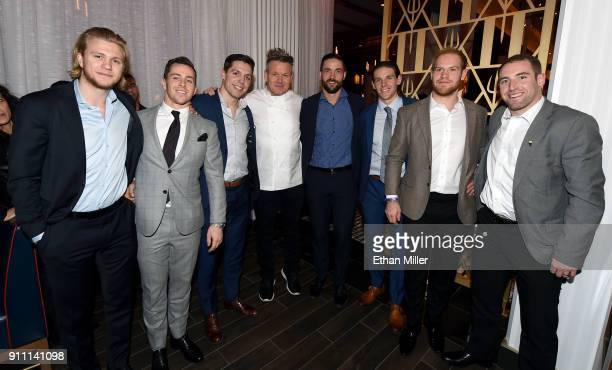 Vegas Golden Knights players William Karlsson Jonathan Marchessault and David Perron television personality and chef Gordon Ramsay and Knights...
