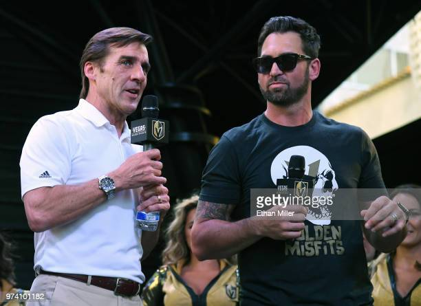 Vegas Golden Knights President of Hockey Operations and general manager George McPhee and Golden Knights television color commentator and former NHL...