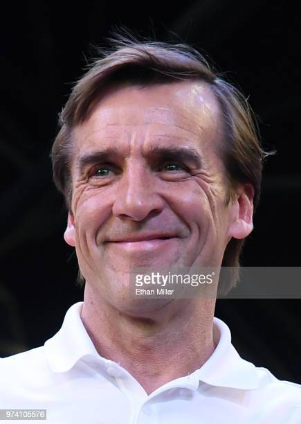 Vegas Golden Knights President of Hockey Operations and general manager George McPhee smiles as the crowd chants during the team's 'Stick Salute to...