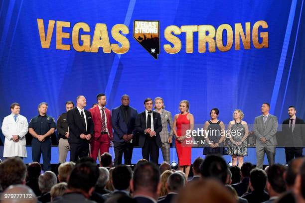 Vegas Golden Knights President of Hockey Operations and general manager George McPhee speaks onstage at the 2018 NHL Awards presented by Hulu at The...