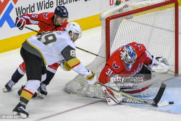 Vegas Golden Knights right wing Alex Tuch scores the game winning goal in the third period against Washington Capitals goaltender Philipp Grubauer 31...