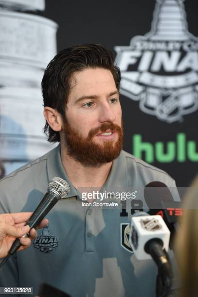 Vegas Golden Knights Right Wing James Neal addresses the media during the NHL Stanley Cup Final Media Day on May 27 2018 at TMobile Arena in Las...