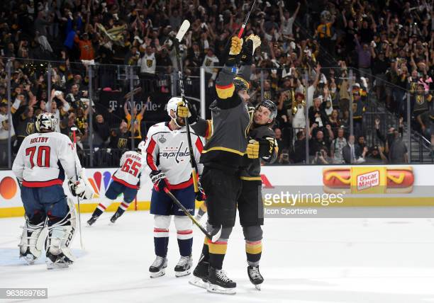 Vegas Golden Knights Right Wing James Neal celebrates with Vegas Golden Knights Center Erik Haula after scoring their first goal of the game in the...