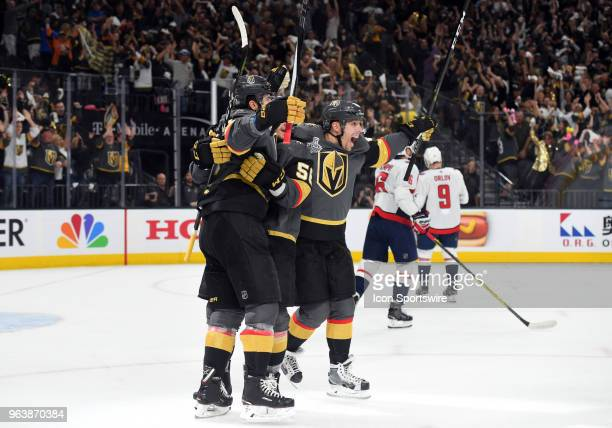 Vegas Golden Knights Right Wing James Neal celebrates with Vegas Golden Knights Center Erik Haula and Vegas Golden Knights Left Wing David Perron...