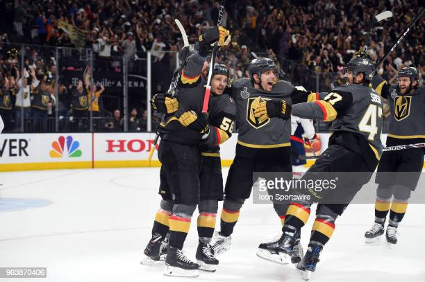 Vegas Golden Knights Right Wing James Neal celebrates with Vegas Golden Knights Center Erik Haula Vegas Golden Knights Left Wing David Perron and...