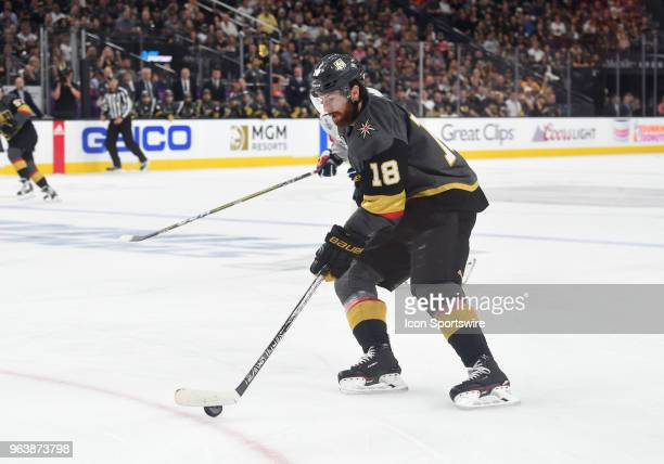 Vegas Golden Knights Right Wing James Neal handles the puck and prepares to shoot the Golden Knights' first goal of the game during game 2 of the...