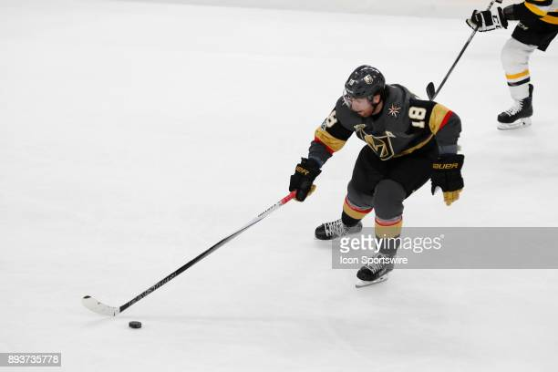 Vegas Golden Knights Right Wing James Neal moves the puck up the ice during the game between the Vegas Golden Knights and the Pittsburgh Penguins on...