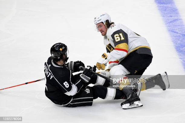 Vegas Golden Knights Right Wing Mark Stone and Los Angeles Kings Defenceman Drew Doughty have a heated exchange after they got their skates tangled...