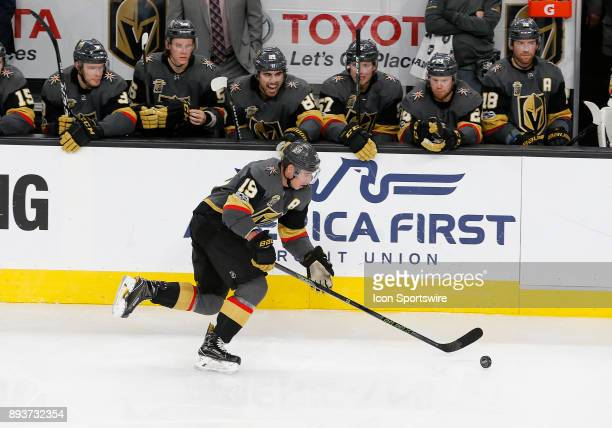 Vegas Golden Knights right wing Reilly Smith moves the puck down the ice during the second period of a regular season NHL game between the Pittsburgh...