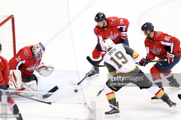 Vegas Golden Knights right wing Reilly Smith scores on a second period power play against Washington Capitals goaltender Philipp Grubauer on February...