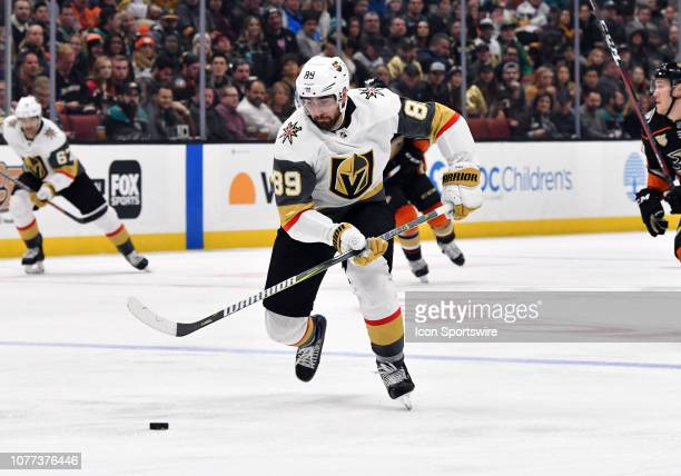 Vegas Golden Knights rightwing Alex Tuch with the puck during the second period of a game against the Anaheim Ducks played on January 4 2019 at the...