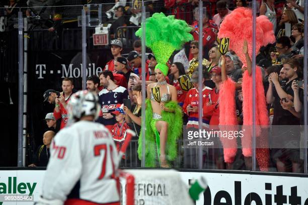 Vegas Golden Knights show girls are seen in the crowd prior to Game Five of the Stanley Cup Final during the 2018 NHL Stanley Cup Playoffs at TMobile...