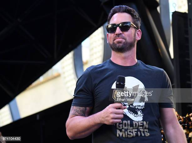 Vegas Golden Knights television color commentator and former NHL player Shane Hnidy speaks during the team's 'Stick Salute to Vegas and Our Fans'...