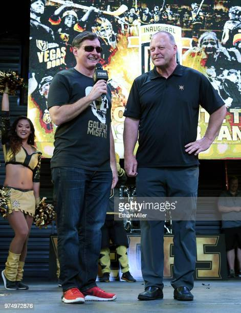 Vegas Golden Knights television playbyplay announcer Dave Goucher and head coach Gerard Gallant speak during the team's 'Stick Salute to Vegas and...