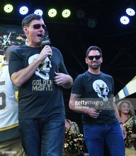 Vegas Golden Knights television playbyplay announcer Dave Goucher and color commentator and former NHL player Shane Hnidy speak during the team's...