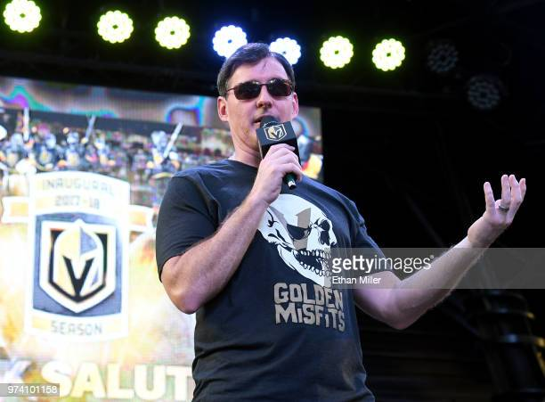 Vegas Golden Knights television playbyplay announcer Dave Goucher speaks during the team's 'Stick Salute to Vegas and Our Fans' event at the Fremont...