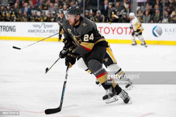 Vegas Golden Knights Winger Oscar Lindberg moves the puck up the ice during the game between the Vegas Golden Knights and the Pittsburgh Penguins on...