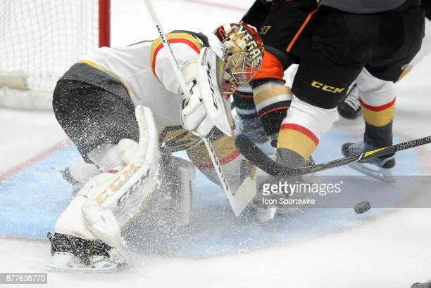 Vegas Golden Nights goalie Maxime Lagace blocks a shot during the second period of a game against the Anaheim Ducks on November 22 played at the...