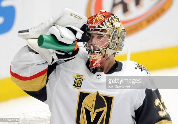 Vegas Golden Nights goalie Maxime Lagace gets some water during a break in the action of the third period of a game against the Anaheim Ducks on...