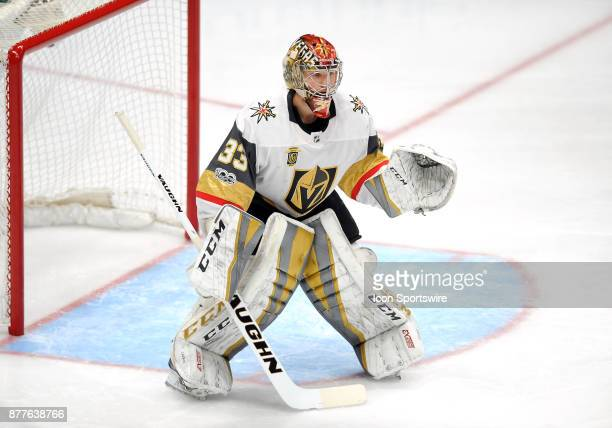 Vegas Golden Nights goalie Maxime Lagace in action during the second period of a game against the Anaheim Ducks on November 22 played at the Honda...