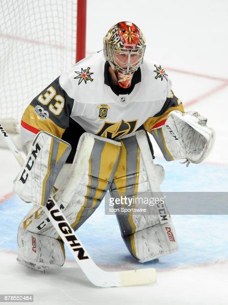 Vegas Golden Nights goalie Maxime Lagace in goal during the second period of a game against the Anaheim Ducks on November 22 played at the Honda...
