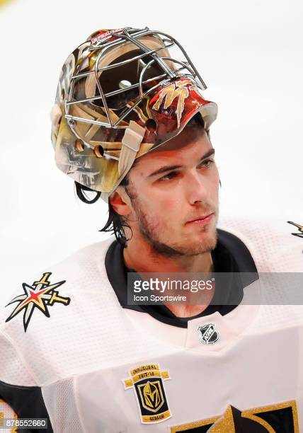 Vegas Golden Nights goalie Maxime Lagace on the ice during a break in the action of the third period of a game against the Anaheim Ducks on November...