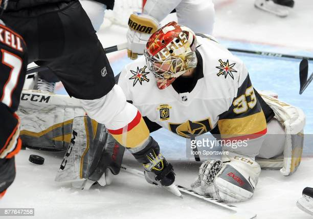 Vegas Golden Nights goalie Maxime Lagace watches a lose puck in the third period of a game against the Anaheim Ducks on November 22 played at the...