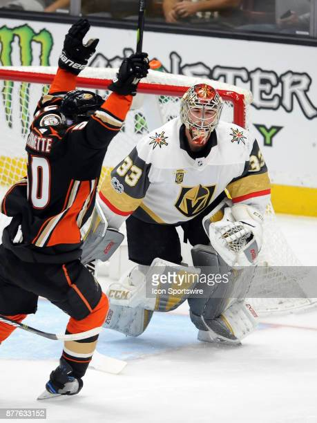 Vegas Golden Nights goalie Maxime Lagace with his eyes Shut after the Anaheim Ducks scored a goal in the first period of a game against the Ducks on...