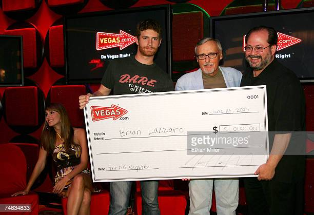 Vegas Minute host Danielle Demski contest winner Brian Lazzaro actor and chair of the CineVegas creative advisory board Dennis Hopper and president...