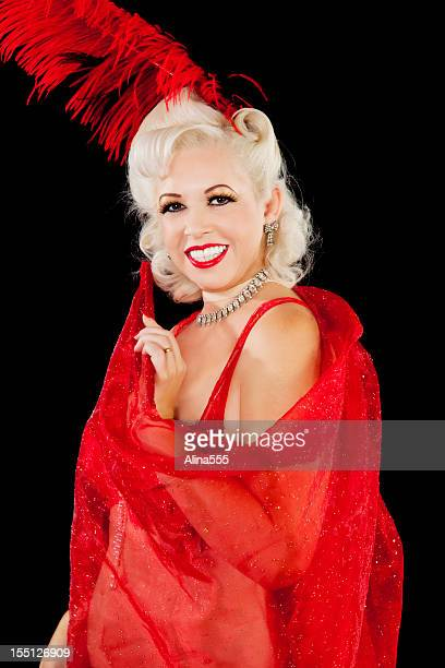 Vegas showgirl in red outfit