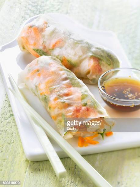 Vegetable and crayfish spring rolls