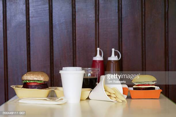 Vegetable and fruit burgers in fast food restaurant setting