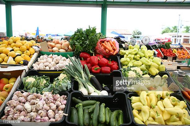 野菜や果物のブース