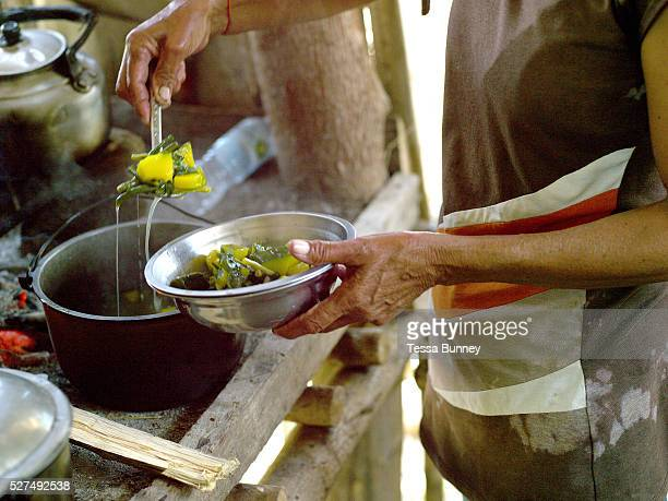 Vegetable and rice farmer Teodora Ayson cooking homegrown vegetables for lunch Pamantingan Esperanza Sultan Kudarat province Mindanao Island The...