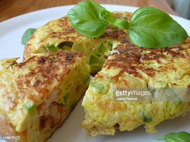 Vegetable and shrimp tortilla