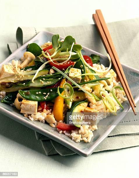 Vegetable and tofu stir fry on brown rice