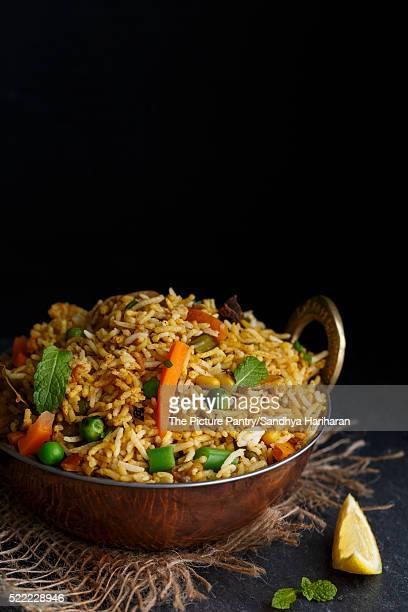 vegetable biryani - biryani stock photos and pictures