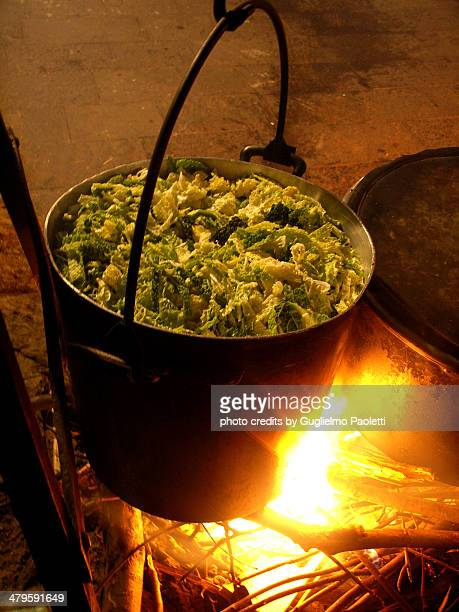 vegetable cauldron on fire