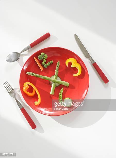 Vegetable clock on plate