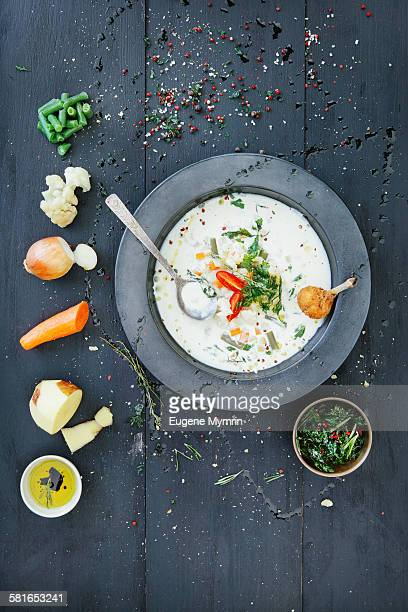 Vegetable cream soup and it's ingredients
