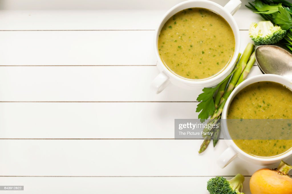 Vegetable Cream Soup On White Rustic Background Stock Photo