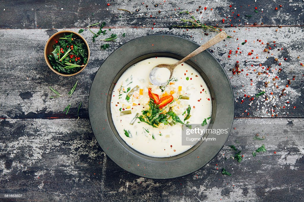 Vegetable cream soup with herbs : Stock-Foto