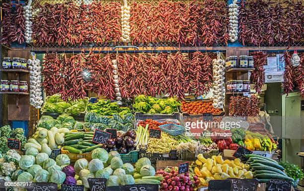 Vegetable display at Nagycsarnok Market, Budapest