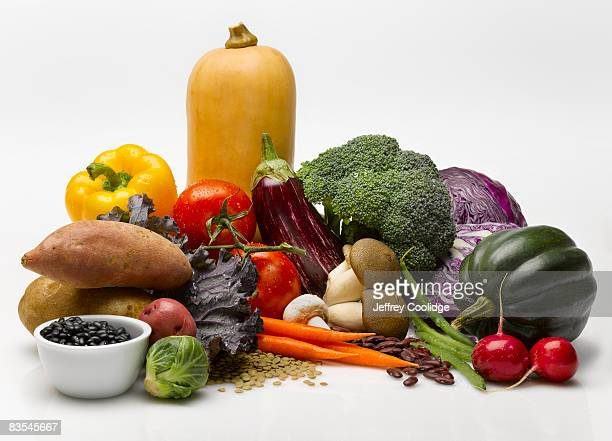 vegetable food group still life - food pyramid stock photos and pictures