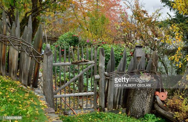A vegetable garden protected by a wooden fence in St Peter Lajen Eisack Valley TrentinoAlto Adige Italy