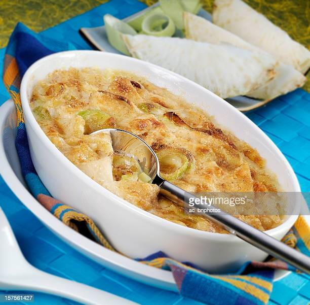 vegetable gratin - celeriac stock photos and pictures