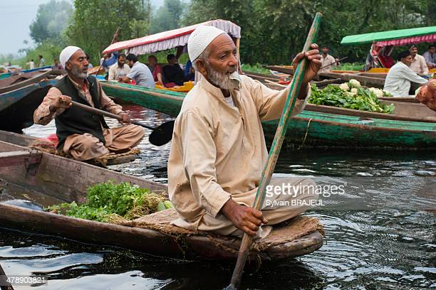 CONTENT] A vegetable kashmiri seller on the floating market in Srinagar Dal Lake Kashmir India
