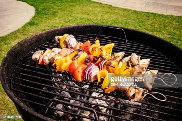 vegetable kebabs - aliment grillé au charbon de bois photos et images de collection